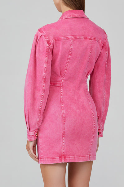 Acler Neon Pink, Denim Mini Dress with Long Sleeves - Back Detail