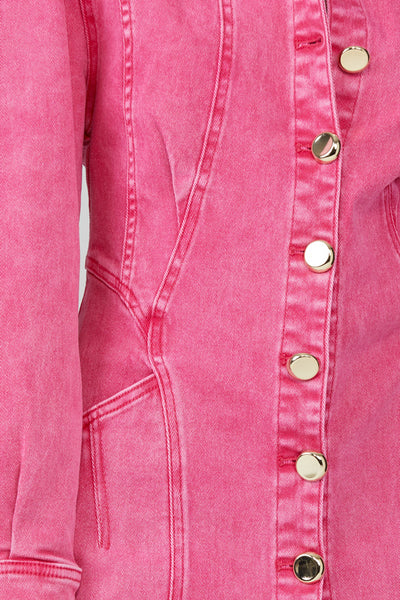 Acler Neon Pink, Denim Mini Dress - Gold Button Detail