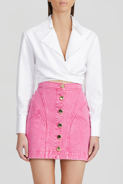 Acler Neon Pink, Denim Mini Skirt with Gold Buttons