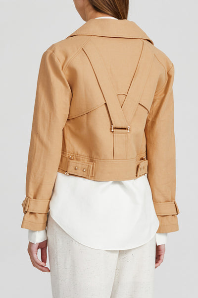 Acler Ladies Biscuit Brown, Cropped Jacket with Long Sleeves - Back Detail