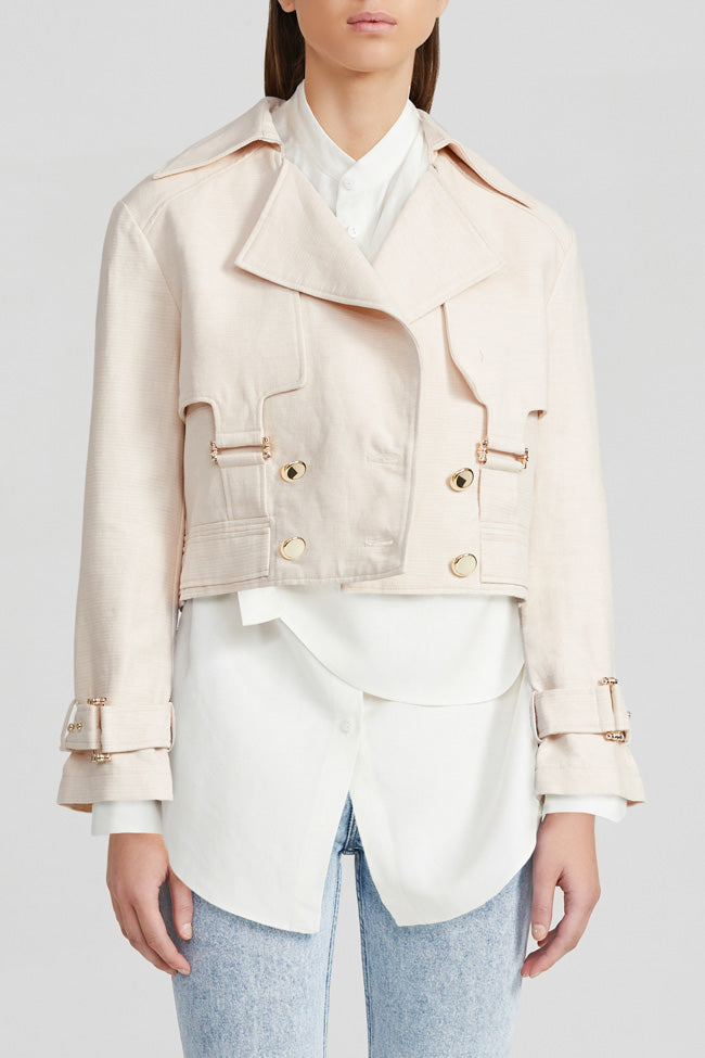Acler pastel pink cropped jacket with gold buttons, utility pockets, wide lapel detail and adjustable cuff sleeves