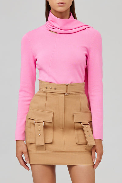 Acler Biscuit Brown Mini Skirt with Pocket Detail