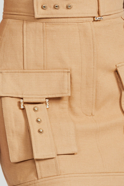 Acler Biscuit Brown Mini Skirt - Pocket Detail