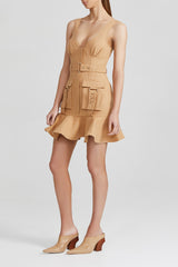 Acler Biscuit Brown Mini Dress with v-neckline and Ruffle Peplum Hem