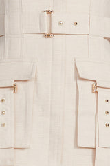 Acler pastel pink Vermont mini dress - belt with gold hardware and pocket detail