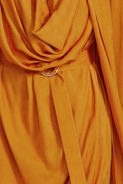 Acler turmeric orange mini dress - fitted waist detail and adjustable d-ring wrap