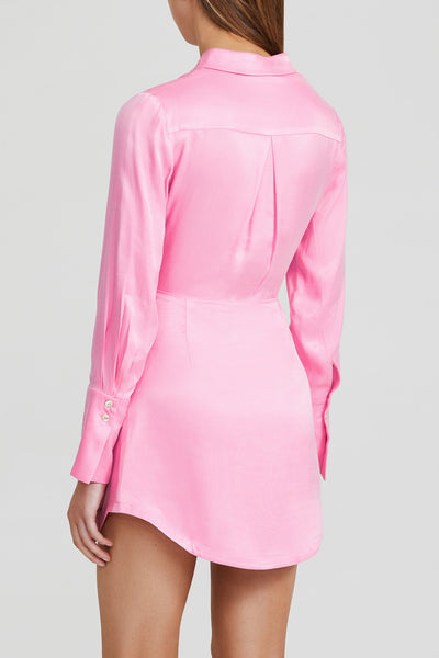 Acler Long Sleeved Candy Pink Mini Dress with Drape Waist Detail and Collar