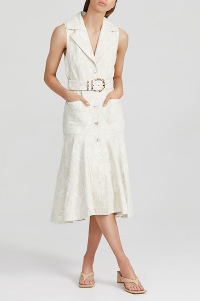 Acler natural midi dress with fitted waist, belt with gold bamboo hardware, collared v-neckline and wide ruffle peplum hem in textured jacquard fabric