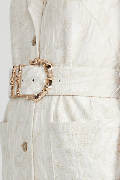 Acler Clifton natural midi dress - belt with gold bamboo hardware detail