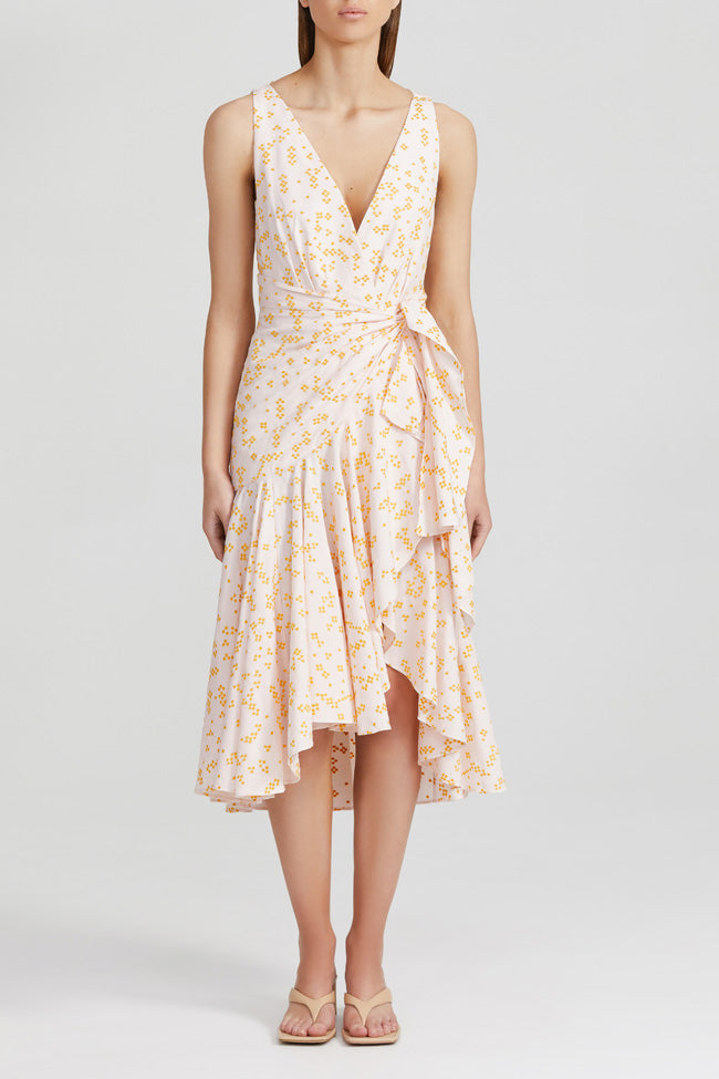 Acler pale pink midi dress with soft yellow spots, fitted waist, v-neckline and ruffle wrap hem