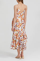 Acler white midi dress with orange floral pattern, fitted waist including twist detail, spaghetti straps , v-neckline and tiered ruffle wrap look skirt in exclusive Acler print