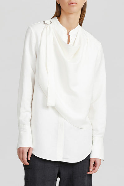 Acler Ivory Long Sleeved Ladies Shirt with Draped Neckline, Collar and Curved Shirting Hemline