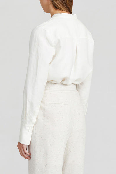 Acler Ivory Long Sleeved Ladies Shirt with Draped Neckline, Collar and Curved Shirting Hemline - Back View