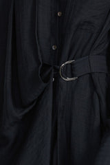 Acler Serena black shirt dress - fitted waist belt in lightweight fabrication