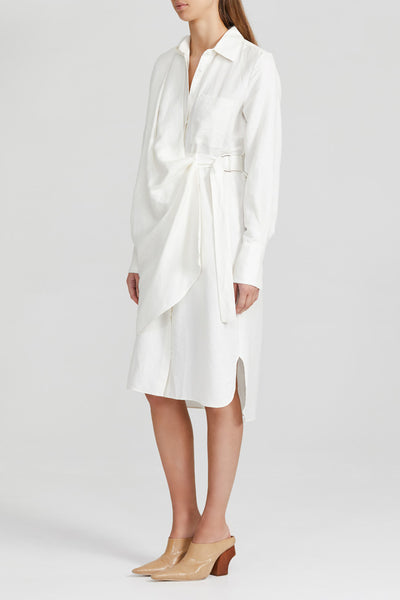Acler Ivory, Midi Shirt Dress with Fitted Waist, Drape v-neckline, Collar, Wrap Detail at Waist, Curved Hemline and Side Split Detail