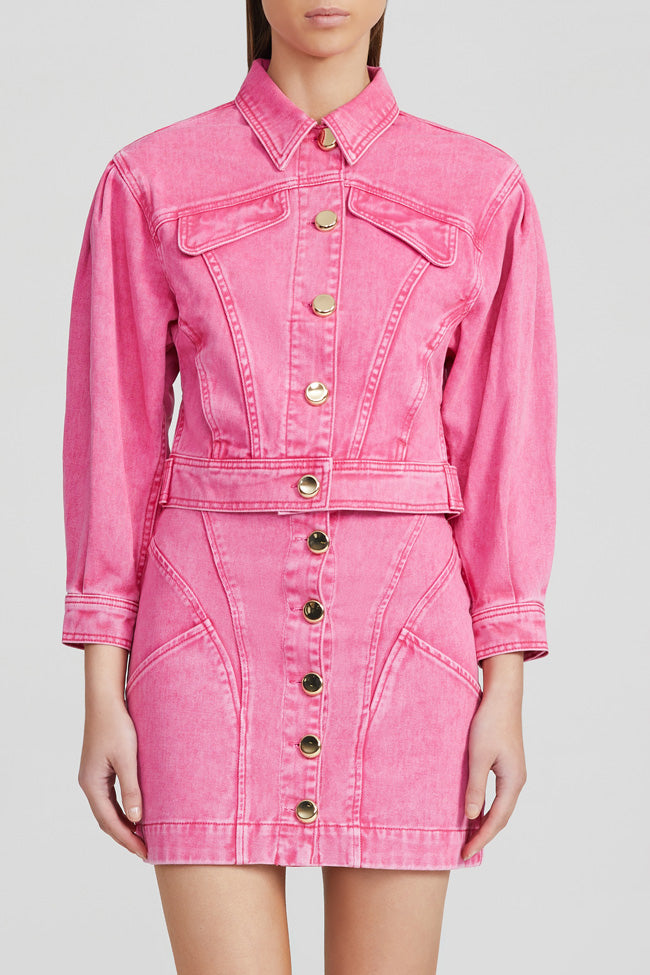 Acler Ladies, Neon Pink Denim Jacket with Gold Buttons