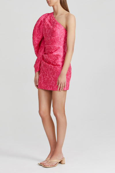 Acler Neon Pink Mini Dress with One, Long Exaggerated Puff Sleeve