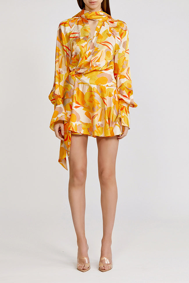 Acler Golden Abstract Bradley wrap-effect mini dress with v-neck and long exaggerated shoulders.