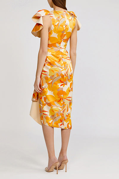 Acler Golden Abstract Redwood Midi Dress with low v-neck, exaggerated shoulders and asymmetrical hemline.