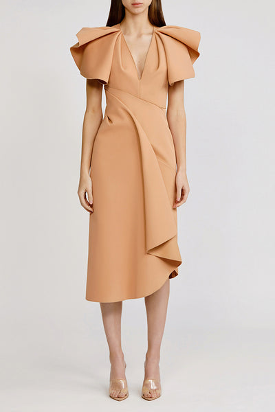 Acler Nude (tan/beige) Redwood Midi Dress with low v-neck, exaggerated shoulders and asymmetrical hemline.