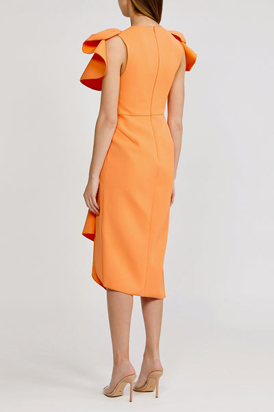 Acler Redwood Midi Dress with low v-neck, exaggerated shoulders and asymmetrical hemline in papaya (orange).