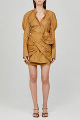 Acler Caramel Mini Skirt with Exaggerated Twist Detail