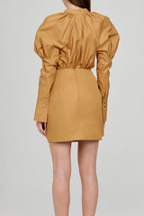 Acler Caramel Mini Skirt with Exaggerated Twist Detail - Back View