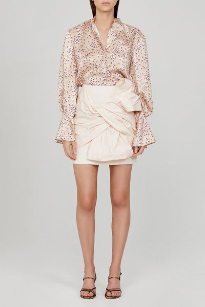 Acler Pastel Pink Mini Skirt with Exaggerated Twist Detail