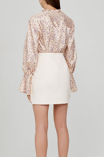 Acler Pastel Pink Mini Skirt with Exaggerated Twist Detail - Back Detail