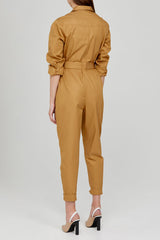 Acler Ladies Caramel Long Sleeved, Full Length Boiler Jumpsuit with Collar - Back Detail