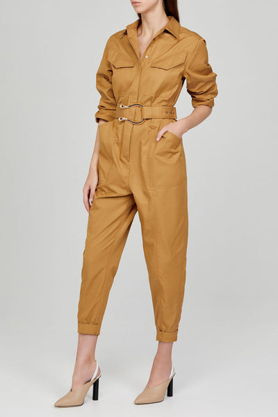 Acler Ladies Caramel Long Sleeved, Full Length Boiler Jumpsuit with Collar