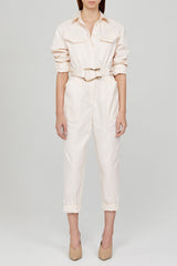 Acler Ladies Pastel Pink Relaxed Fit Boiler Suit with Gold Heart Shaped Belt