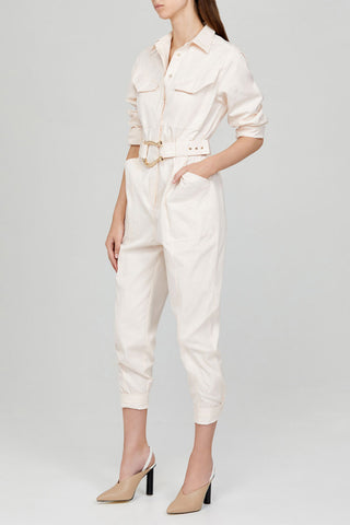 Acler Ladies Pastel Pink Relaxed Fit Boiler Suit with Gold Heart Shaped Belt - Side Detail