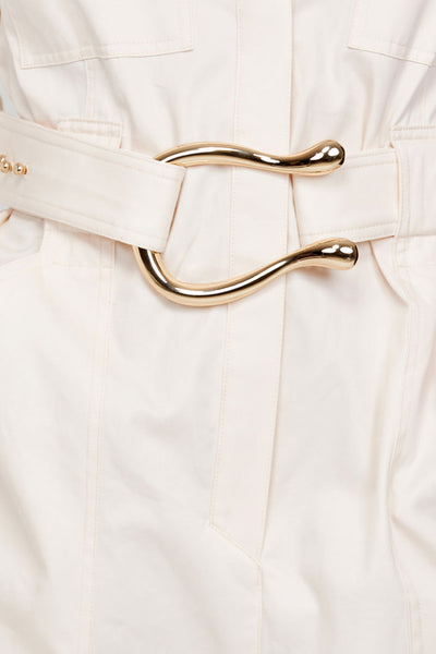 Acler Ladies Pastel Pink Relaxed Fit Boiler Suit - Gold Harp Shaped Belt Detail