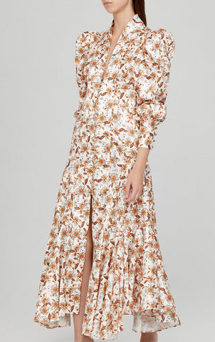 Acler Ladies Long Sleeved Full-Length Ivory Dress with Orange Floral Pattern
