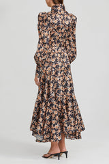 Acler Long Sleeved, Full Length Black Dress with Orange Floral Pattern - Side View