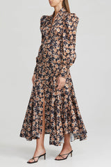 Acler Long Sleeved, Full Length Black Dress with Orange Floral Pattern