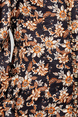 Acler Long Sleeved, Full Length Black Dress - Orange Floral Pattern Detail