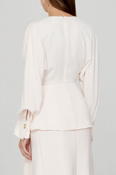 Acler Ladies Pastel Pink, Long Sleeved Blouse with Gathered V-Neckline - Back Detail