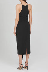 Acler Black Midi Dress with Pleated Waist Tie and Asymmetrical Drape - Back View
