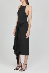 Acler Black Midi Dress with Pleated Waist Tie and Asymmetrical Drape - Side View