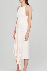 Acler Ladies Pastel Pink Midi Dress with Asymmetrical Drape