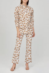 Acler Ladies Ivory Flared Jean with Orange Floral Pattern