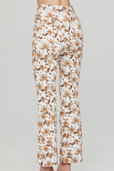 Acler Ladies Ivory Flared Jean with Orange Floral Pattern - Back View