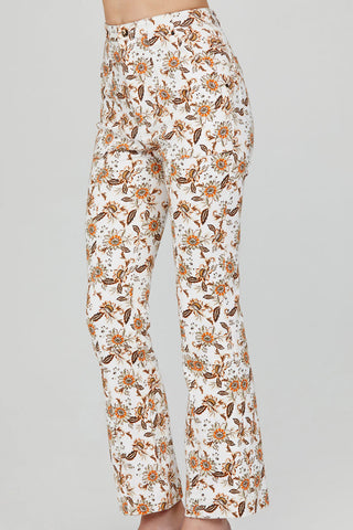 Acler Ladies Ivory Flared Jean with Orange Floral Pattern - Side View