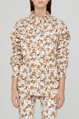 Acler Ladies Long Sleeved Ivory Shirt with Orange Floral Pattern