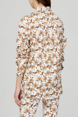 Acler Ladies Long Sleeved Ivory Shirt with Orange Floral Pattern - Back Detail