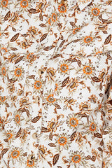 Acler Ladies Long Sleeved Ivory Shirt - Orange Floral Pattern Detail
