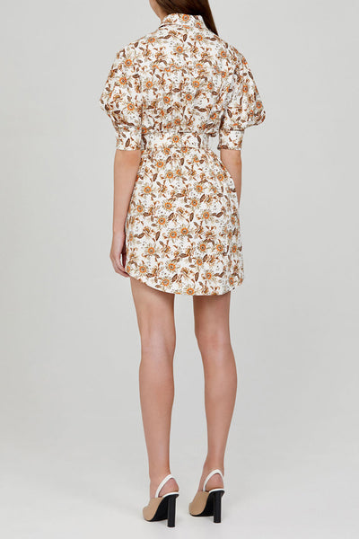 Acler Ladies Ivory Mini Shirt Dress with Orange Floral Pattern - Back Detail