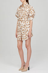 Acler Ladies Ivory Mini Shirt Dress with Orange Floral Pattern